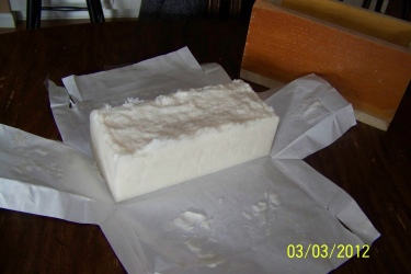 My very first loaf of soap! 100% Lard for use in laundry detergent