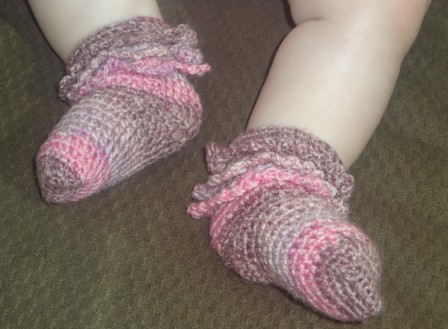 Crochet Ruffle Socks in action
