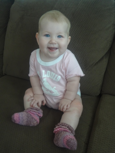 Crochet Ruffle Socks on my cutie!